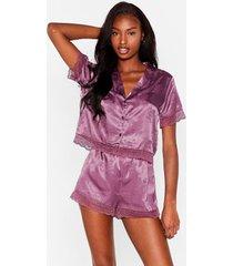 womens lights out jacquard shirt and short pajama set - plum