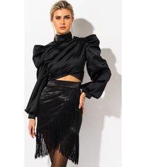 akira decadence avec elegance fringe satin skirt