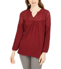 style & co petite lace-shoulder top, created for macy's