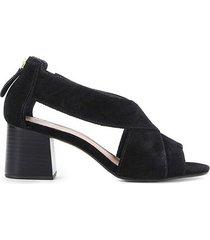 ankle boot couro shoestock zíper salto alto - feminino