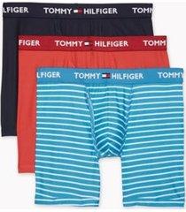 tommy hilfiger men's everyday microfiber boxer brief 3pk sky blue/red/navy - xl