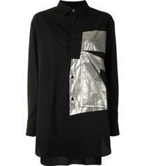 y's reflective patch shirt - black