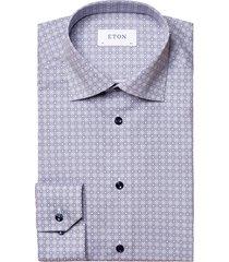 eton slim fit patterned dress shirt, size 17 in blue at nordstrom