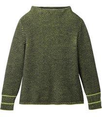 bicolor gebreide pullover uit bio-merino/katoenmix met vulkaankraag, kiwi/zwart 40/42