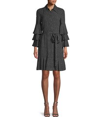 dot-print silk tiered-sleeve shirtdress
