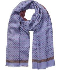 laura biagiotti designer men's scarves, violet printed silk and burgundy wool men's reversible scarf w/fringes