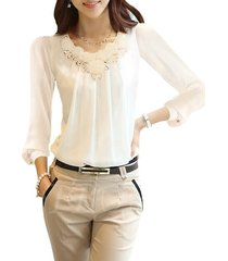 fashion solid color chiffon womens blouse