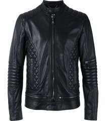 new handmade black quilted panel biker leather jacket, men fashion zipper highwa