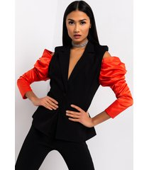 akira come to me off the shoulder puff sleeve blazer