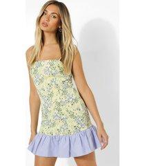bloemenprint mini jurk met losvallende zoom, yellow