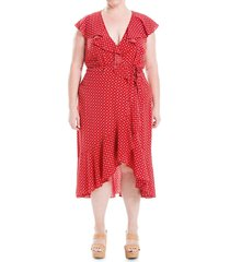max studio women's plus printed ruffle wrap dress - red - size 2x (18-20)