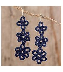 hand-tatted dangle earrings, 'petal delight in indigo' (guatemala)