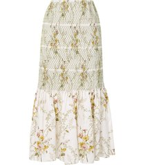 brock collection floral lace skirt - white