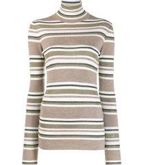 brunello cucinelli horizontal stripes sweater - brown
