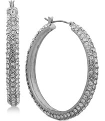 "dkny micro-pave 1 2/3"" hoop earrings, created for macy's"