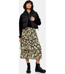 multi daisy floral tiered pleated midi skirt - multi