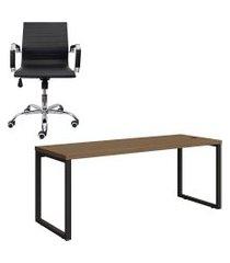 mesa de escritório kappesberg 1.90m com cadeira trevalla tl-cde-11-1