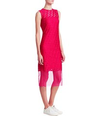 sleeveless embroidery lip sheath dress