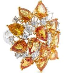 diamond sapphire 18k gold cluster ring