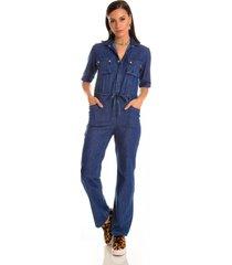 macacã£o jeans zait longo oceano azul marinho - azul marinho - feminino - dafiti