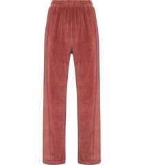 les tien velour straight-leg track pants - pink