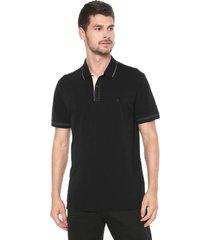camisa polo forum reta preta - preto - masculino - algodã£o - dafiti