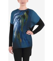 mixed media floral 3/4 sleeve top