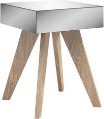 mesa de canto retrô c/ espelho carvalho dalla costa bege