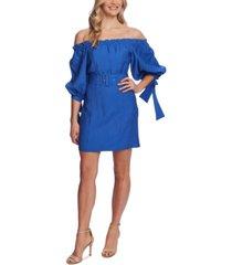 cece off-the-shoulder balloon-sleeve belted dress