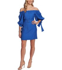 cece off-the-shoulder balloon-sleeve belted dress