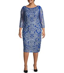 plus three-quarter sleeve embroidery sheath dress