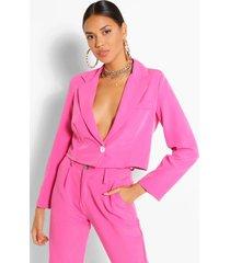 woven button crop blazer, hot pink
