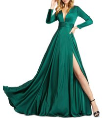 mac duggal v-neck side-slit gown