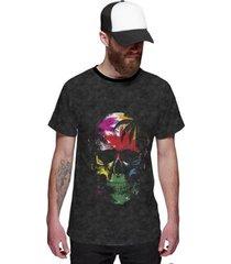 camiseta di nuevo coqueiros skull tropical masculina