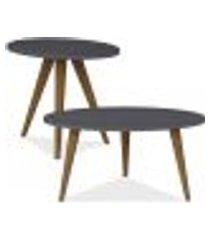 conjunto para sala de estar com mesa de centro e mesa de canto lateral retrô espresso - be mobiliário