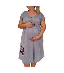 camisola plus size linda gestante manga curta maternidade mamãe urso