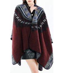 sciarpa di scialle casuale di mescolanza di lana di stile etnico dell'annata delle donne dell'annata soft sciarpa traspirante calda