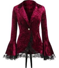 corduroy lace up long sleeve coat