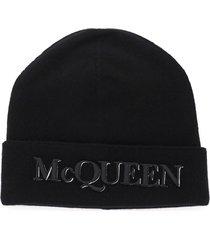 alexander mcqueen beanie hat with front logo