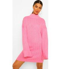 jumbo geribbelde maxi trui jurk met wijde mouwen, cherub pink