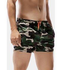 uomo shorts sciolti da spiaggia con coulisse di stile hawaii camuffamento a rapida asciugatura