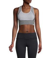 marika women's scarlett mesh-racerback sports bra - heather grey - size s
