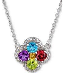 "amethyst (7/8 ct. t.w.) & white topaz (1/6 ct. t.w.) clover 18"" pendant necklace in sterling silver (also in blue topaz, rhodolite garnet & multi-stone)"