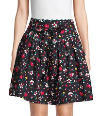 floral stretch cotton yoke skirt