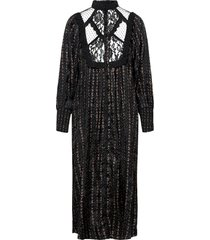 jacquard lace shift dress maxi dress galajurk zwart by ti mo