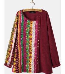 camicetta a maniche lunghe in pile con stampa patchwork o collo per donna