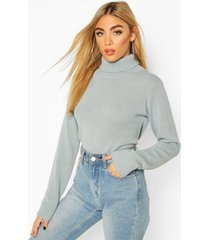 roll neck crop sweater, sage