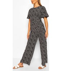daisy print short sleeve jumpsuit, black