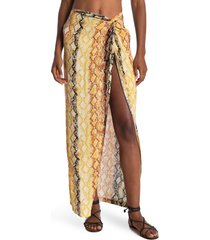 women's l space mia animal print cover-up skirt, size large - orange