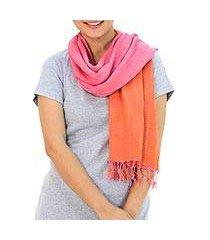 cotton reversible scarf, 'orange pink duet' (thailand)